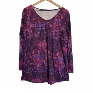 Misslook long sleeve purple pink floral size XL